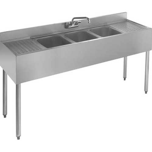 "Krowne 18-63C Underbar Three Compartment Sink, 18"" right & left drainboards, 6'L"