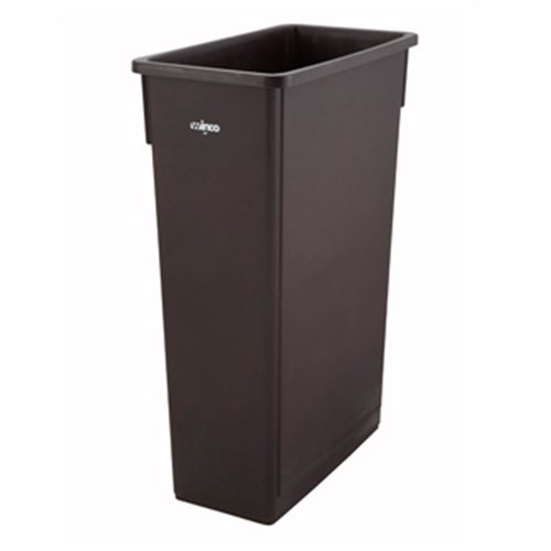 Winco Slender Trash Can, 23 gallon, (lid not included), brown